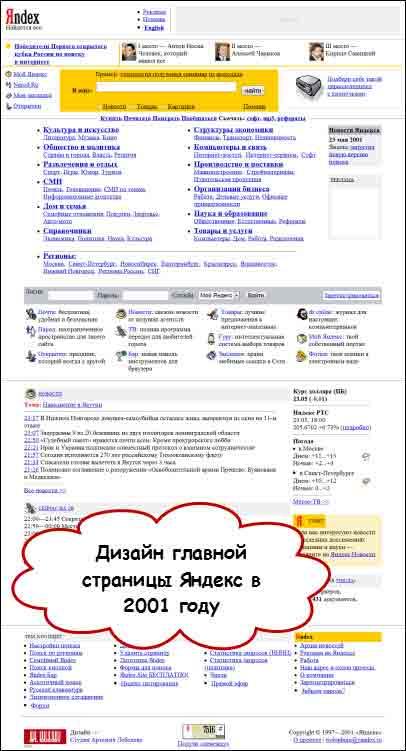 дизайн сайта в 2001